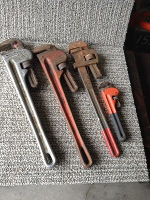 Assorted pipe wrenches for Sale in Columbus, OH