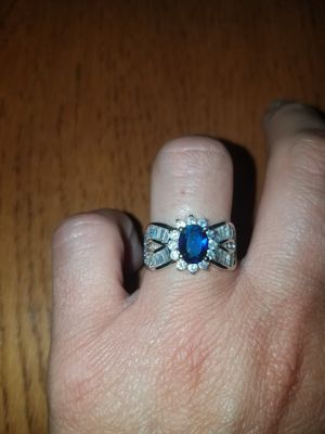 Sterling silver blue and white sapphire ring size 7 for Sale in Baltimore, MD