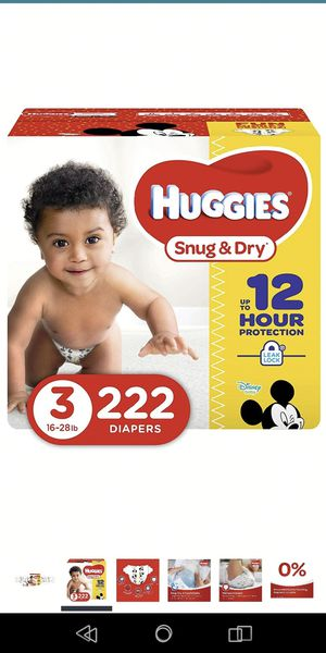 Huggies size 3 222 count for Sale in Ashland, MA