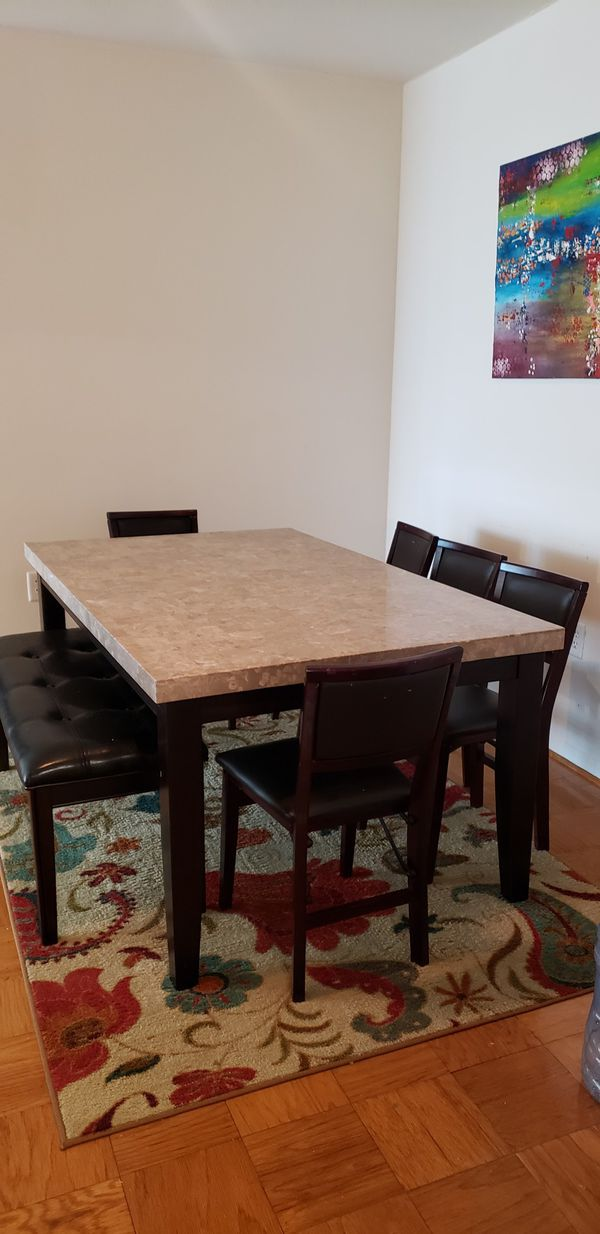 dining room set.table chair and bench .