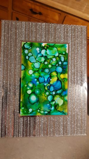 Glittered mirror frame, Abstract art. Green for Sale in Hayward, CA