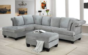 GREY VELVET SECTIONAL SOFA WITH OTTOMAN for Sale in Montclair, CA