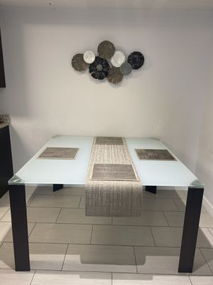 Square Wooden Dining Table with Frosted Glass Top for Sale in Ives Estates, FL