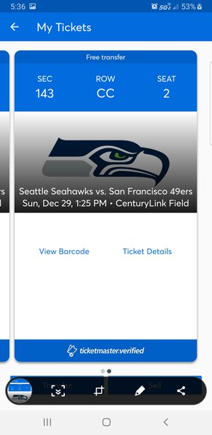 2 Seahawk tickets for Sale in SeaTac, WA