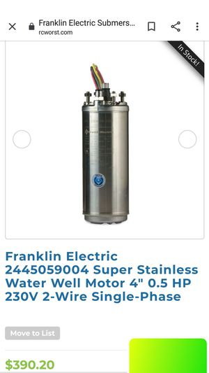 Franklin electric submersible well pump 0.5 hp for Sale in Lehigh Acres, FL
