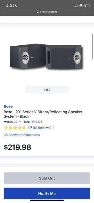Bose - 201 Series V Direct/Reflecting Speaker System - Black for Sale in Azusa, CA