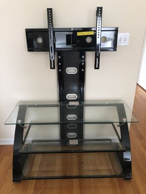 Glass tv media console table with mount for Sale in Chicago, IL