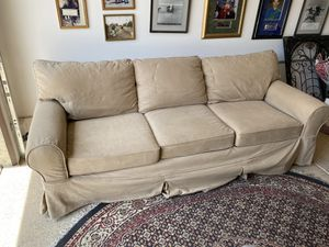 """Pottery Barn PB Basic Slipcovered Sofa Beige Hardly Used!!"" for Sale in Henderson, NV"