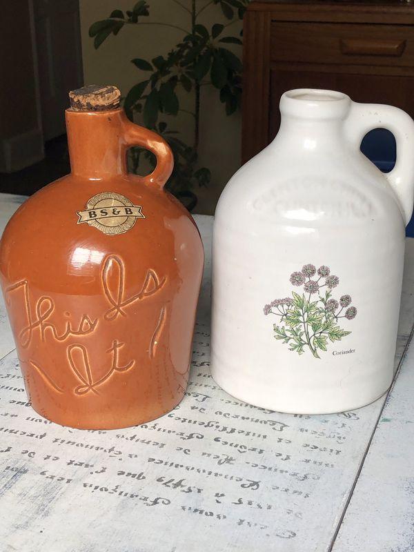 2 VINTAGE Crock & Honey Pot Jars. Super Nice Houseware Kitchen Displays