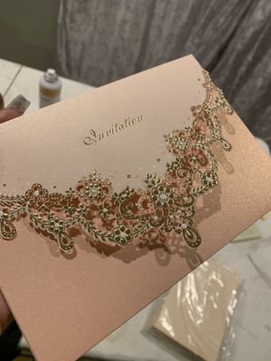 Wedding invitation pink, gold, pink shimmer with stickers for Sale in Phoenix, AZ