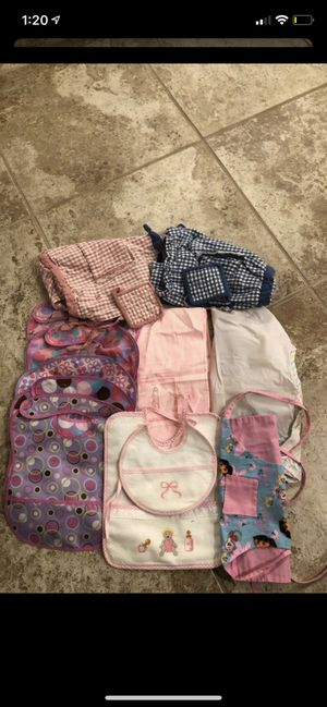 Baby girl bibs paint cover and apron smoke and pet free for Sale in Taunton, MA