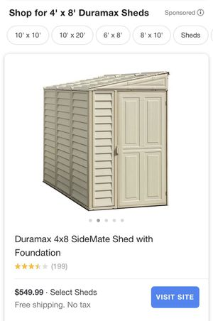 Duramax 4x8 Storage Shed with Treated lumber base Delivered and Installed for Sale in Mesa, AZ
