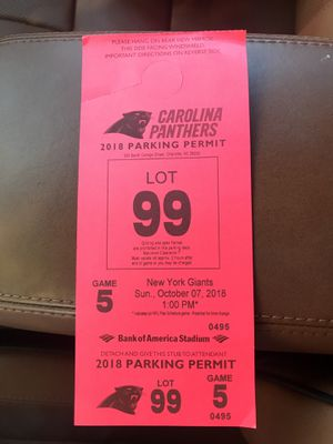 Carolina Panthers Parking Permit for Sale in Charlotte, NC