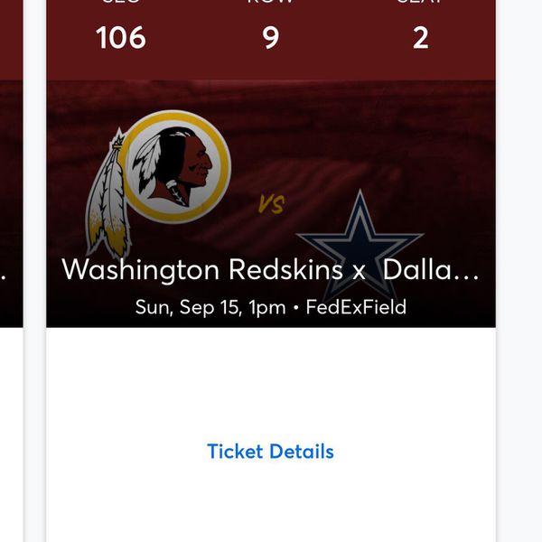 Redskins vs Dallas tickets 240 ea