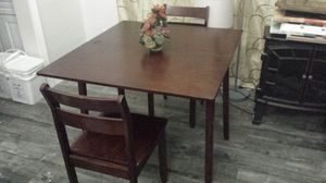 "Dining Table, 2 chairs Solid Wood Table Can Ajust to Small Like New 36""×40""(20"") for Sale in Walnut, CA"