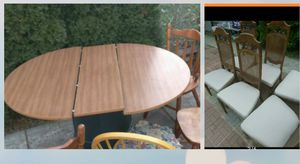 Smaller size Pecan Dining room table set 6 Farmhouse chairs for Sale in Lansing, IL