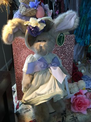 Used, Boyds Bears Fuzzy Bunny NEW with tags floppy ears sweet outfit and bonnet collectors condition for Sale for sale  Brecksville, OH