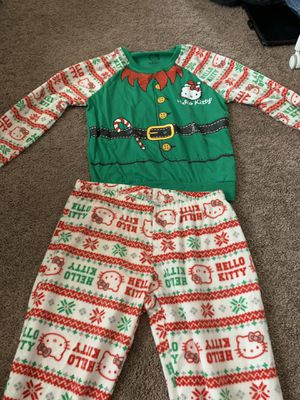 BRAND NEW, size medium kids pj set, hello kitty, Christmas theme, tag still attached for Sale in Las Vegas, NV