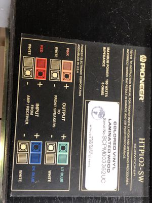Pioneer subwoofer center and two side speakers for Sale in Cleveland, OH