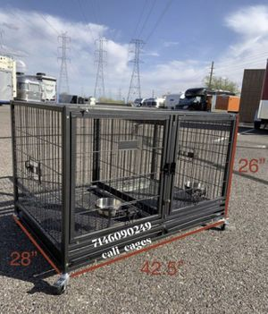 Dog pet cage kennel size 43 with divider tray and feeding bowls for Sale in Chino, CA