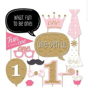 1st Birthday Girl's Photo Booth Props Kit Pink/Gold for Sale in Chicago, IL