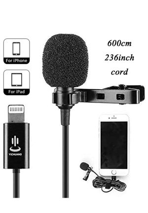 Lavalier Microphone for iPhone 11 pro X Xr Xs max 8 6 6s 6 5 Plus iPad Mini iPod, Audio Lapel Easy Clip on for YouTube Interview Video Conference Pod for Sale in Walnut, CA