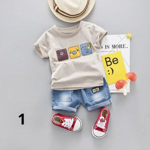 Cotton Baby Boy Cartoon Summer Clothes Sets Toddler Short Sleeve T-Shirt Denim Jeans Children Clothing Suits Costume For Kids for Sale in Orlando, FL