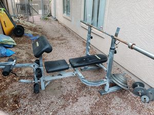 Bench press w/ 45 lbs bar and 245 lbs of weights for Sale in Gilbert, AZ