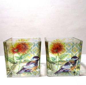 #kn228 vintage set of blue birds flowers sunflower glass candle holders for Sale in Southaven, MS