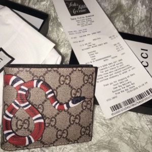 Mens Gucci Wallet Brown Monogram Snake Authentic for Sale in Bloomfield, NJ