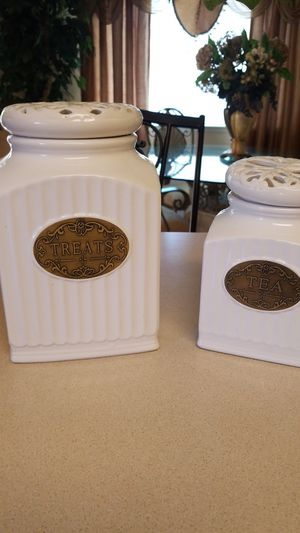 Canister canisters treat dog tea kitchen home tuscan for Sale in Diamond Springs, CA