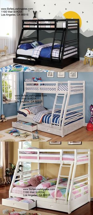 White solid wood bunk bed with storage drawers/No Credit Needed No Credit Check Apply Today for Sale in Downey, CA