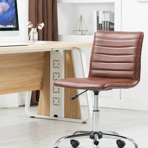 Ergonomic Mid Back PU Leather Swivel Designer Manager Conference Work Task Computer Office Ribbed Chair for Sale in Brea, CA