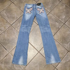 Miss Me Distressed Blue Jeans Boot Sz 14 Bling Rhinestone Butterfly Embroidered for Sale in West Columbia, SC