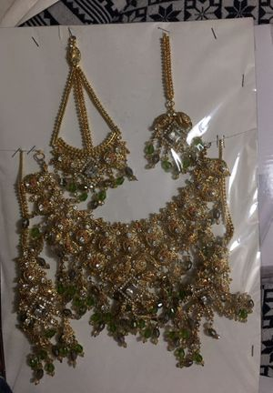 Indian bridal jewelry full set for Head set long earrings and full neck covering set. New golden, green and light grey color beats.Golden color with for Sale in Fort Washington, MD