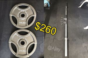 New!!! Olympic Weight Plates (2x45Lbs) & Olympic Bar (7FT-45LB) with 2 clips for Sale in Chino Hills, CA