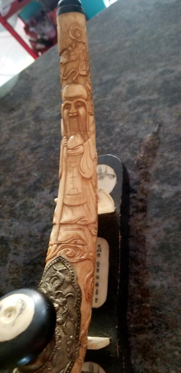 Vintage Carved Bone Opium Pipe With Stand