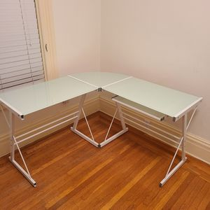 Tempered Glass L-Shaped Desk (White/frosted Top) for Sale in San Francisco, CA