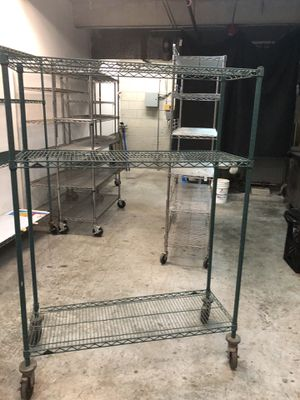 "Shelves Green metal shelving with wheels, 48""Wx18x68""H 2 available for Sale in Cutler Bay, FL"