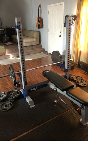 Fitness Gear Bench, Barbell, and weights for Sale in Portland, OR
