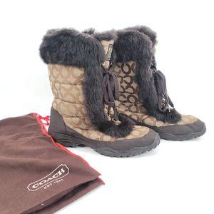 Coach Jennie Rabbit Fur Trim Mid Calf Winter Boots for Sale in Seattle, WA