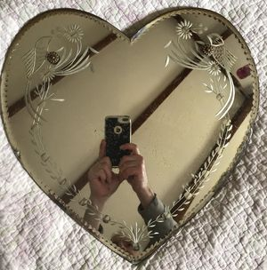 Vintage antique engraved heart shaped mirror engraving on the back for Sale in Mansfield, MA