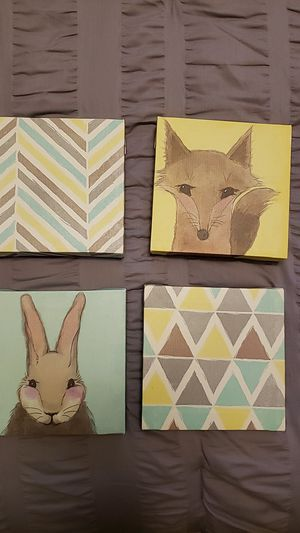 Canvas kids room decorations 4pc for Sale in Monroeville, PA