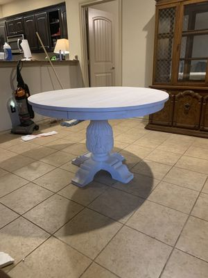 Sandblasted white round wooden dining room table for Sale in Watauga, TX