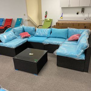 (4 colors) Brand New 7 pcs Patio Furniture Sectional Sofa Set for Sale in Fullerton, CA