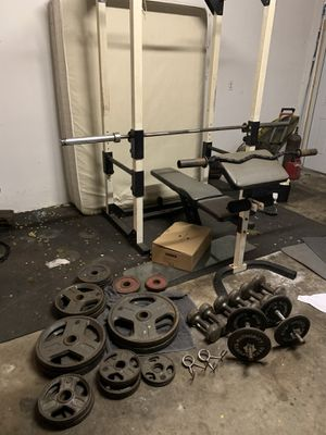 Club/weider 585 squat/bench rack and weights for Sale in Fort Lauderdale, FL