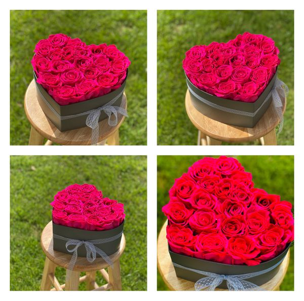 Heart shaped real preserved roses box bouquet box roses handmade eternal flowers immortal Mother's Day Father's Day Valentine's Day birthday gift pre