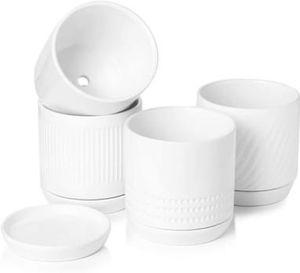 White Minimalist Glazed Ceramic Pots with Ceramic Saucer pack of 4 for Sale in Corona, CA
