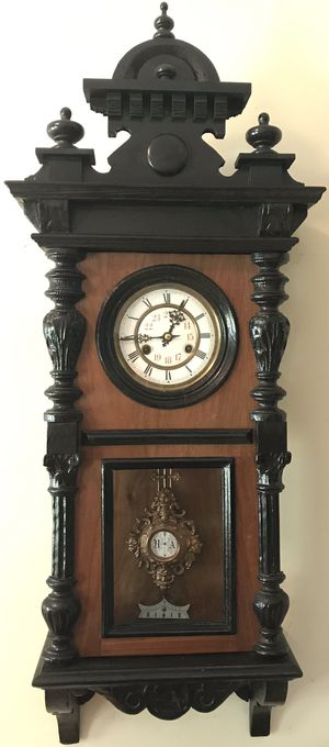 Antique Kienzle German Vienna Regulator Gong Wall Clock Military Time with Key for Sale in Lexington, SC