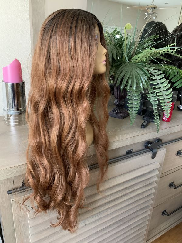 BROWN OMBRÉ WAVY LACE FRONT LONG CURLY WIG